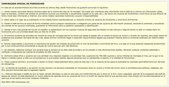 """Comunicado oficial publicado por Alex Marín de Forocoches sobre la publicación de información privada de la víctima de violación por el grupo conocido como """"La manada""""."""
